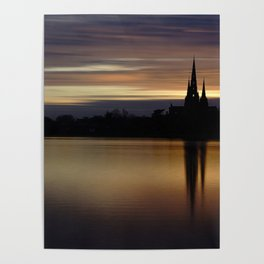 Lichfield Cathedral Sunset Reflection Poster