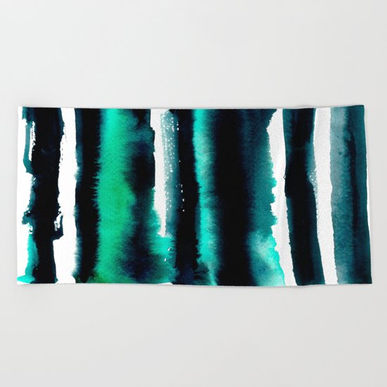 Abstract green and black painting Beach Towel