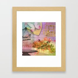 Beautiful Birds & Cages Colorful & Vintage Framed Art Print