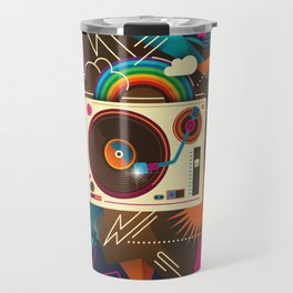 Goodtime Party Music Retro Rainbow Turntable Graphic Travel Mug