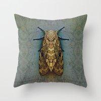 moth Throw Pillows featuring Moth by Zandonai