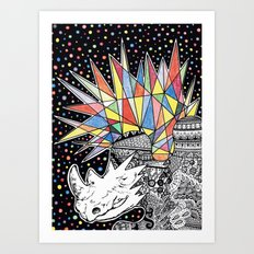 Rhino Party Art Print