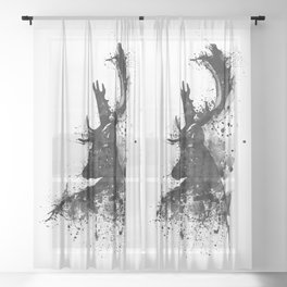 Deer Head Watercolor Silhouette - Black and White Sheer Curtain