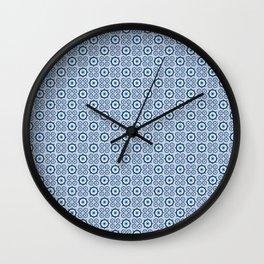 Tulip_Blue repeat pattern Wall Clock