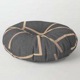 Dark Grey and Gold Textured Fragments - Geometric Design Floor Pillow