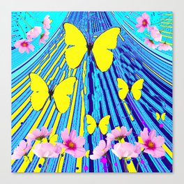 MODERN ART YELLOW BUTTERFLIES PINK FLOWERS BLUE PATTERN Canvas Print
