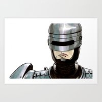 robocop Art Prints featuring Robocop by Nicole Cuvin