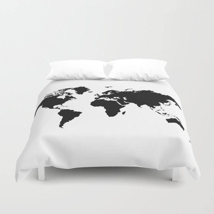 Black and white world map duvet cover by haroulita society6 black and white world map duvet cover gumiabroncs Gallery
