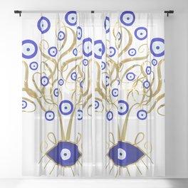 All Seeing Evil Eye Tree Sheer Curtain