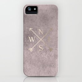 Gold on Pink Blush Distressed Compass Adventure Design iPhone Case