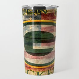 Packers poster with vintage US flag in the background soc6 Travel Mug