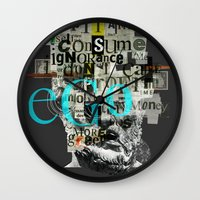motivation Wall Clocks featuring Mankind Motivation X4 by Marko Köppe