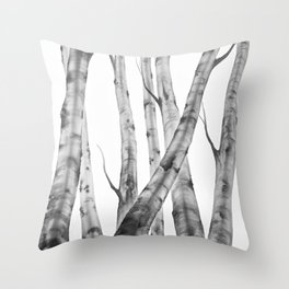 Birch Tree | Watercolour | Painting | black-and-white | Black and White | Minimalism Throw Pillow