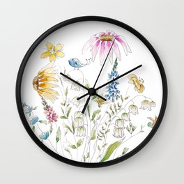 wild flowers and blue bird _ink and watercolor 1 Wall Clock
