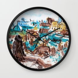 Over Rooftops High Wall Clock
