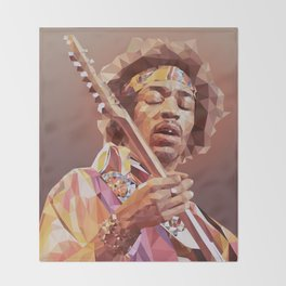 Jimi Hendrix Guitar God Throw Blanket