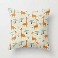 giraffes Throw Pillows featuring Giraffes by BlueLela