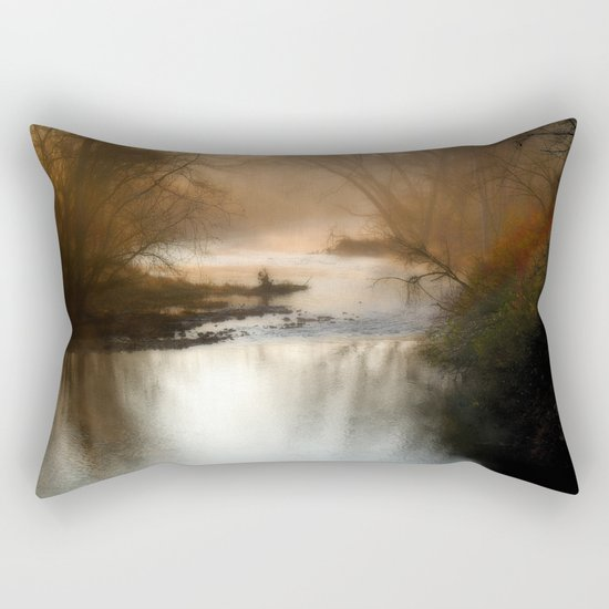 Foggy Alum Creek on a chilly fall morning Rectangular Pillow