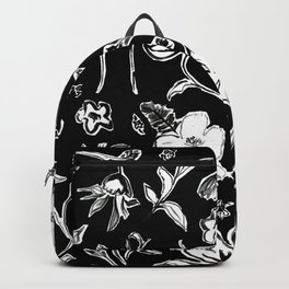 Batik Floral Black and White Backpack