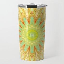 Pastel Yellow Pink Mandala Design Travel Mug