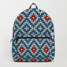 Blue & red ethnic textured motif Backpack