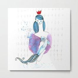 Girl and fish (sustenance) Metal Print