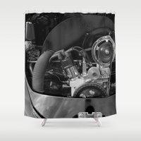 volkswagen Shower Curtains featuring Volkswagen Beetle engine by cjsphotos