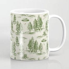 Green Alien Abduction Toile De Jouy Pattern Coffee Mug