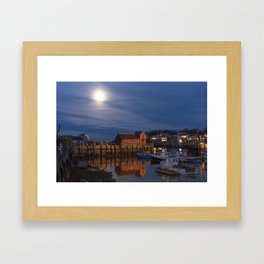Rockport Harbor at night Framed Art Print