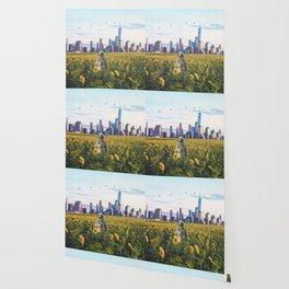 Astronaut in the Field-New York City Skyline Wallpaper