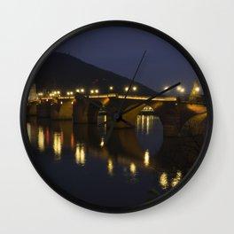 Heidelberg Bridge by night Wall Clock
