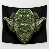 jedi Wall Tapestries featuring Aztec Jedi master Yoda iPhone 4 4s 5 5c 6, pillow case, mugs and tshirt by Greenlight8