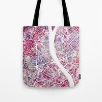 budapest Tote Bags featuring Budapest map by MapMapMaps.Watercolors