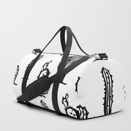 Black cactus seamless pattern on white background. Duffle Bag