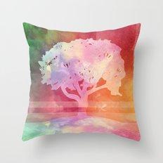 Color Tree white Throw Pillow
