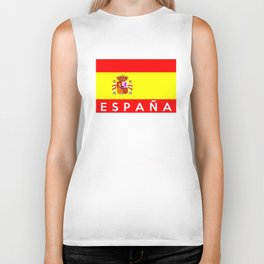 spain country flag espana spanish name text Biker Tank