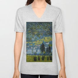 Variegated Blue Alpine Village 'Little Venice' on Lake Attersee in Austrian Alps by Gustav Klimt Unisex V-Neck