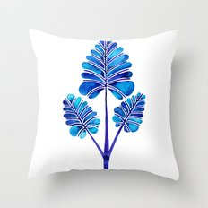 Tropical Palm Leaf Trifecta – Navy Palette Throw Pillow