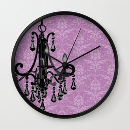Sparkly Chandelier Damask Floral Print Wall Clock