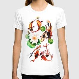 Koi Fish in Pond, Feng Shui T-shirt