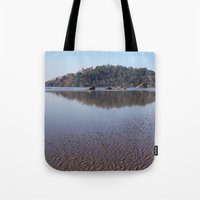 monkey island Tote Bags featuring Across the Water to Monkey Island, Palolem by Serenity Photography