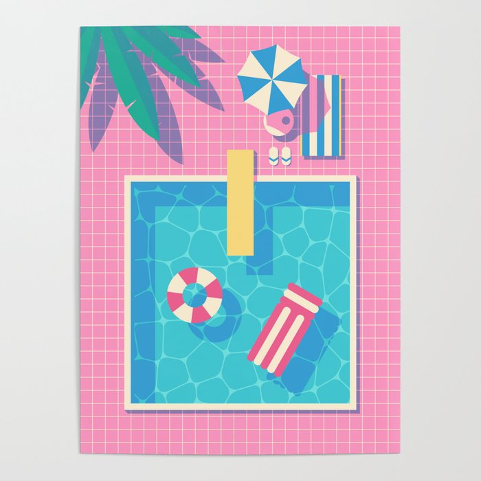Retro 80s Swimming Pool Poster by vectordreams