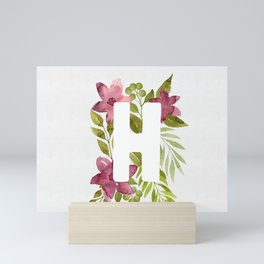 Monogram H with red watercolor flowers and leaves. Floral letter H Mini Art Print