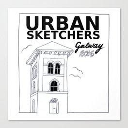 Urban Sketchers Galway Workshop 2016 (white) Canvas Print