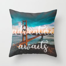 ADVENTURE AWAITS - wall tapestry - travel - water - landscape nature photography tapestries love Throw Pillow