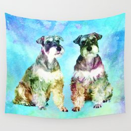 Miniature Schnauzer dogs Watercolor Digital Art Wall Tapestry