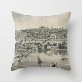 Vintage Pictorial Map of Richmond VA (1876) Throw Pillow