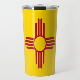 flag new mexico-usa,america,sun,Zia Sun symbol,New Mexican,Albuquerque,Las Cruces,santa fe,roswell Travel Mug
