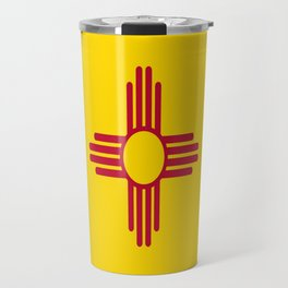 flag new mexico-usa,america,sun,Zia Sun symbol,New Mexican,Albuquerque,Las Cruces,santa fe,roswell Travel Mug