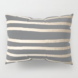 Simply Drawn Stripes White Gold Sands on Storm Gray Pillow Sham